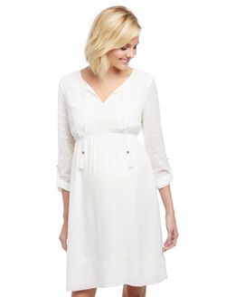 Textured Tassel Detail Maternity Dress, White