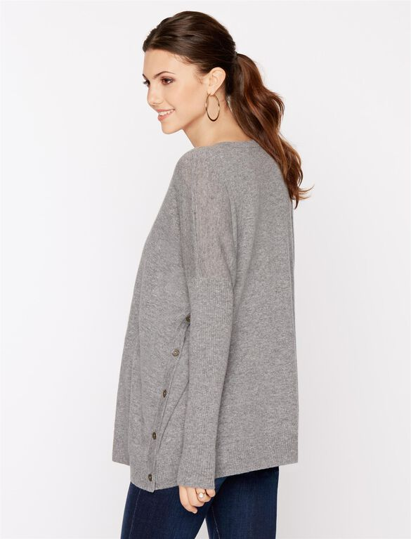 Autumn Cashmere Button Detail Maternity Sweater, Cement