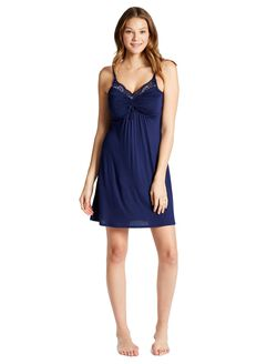Jessica Simpson Lace Trim Maternity Nightgown, Navy
