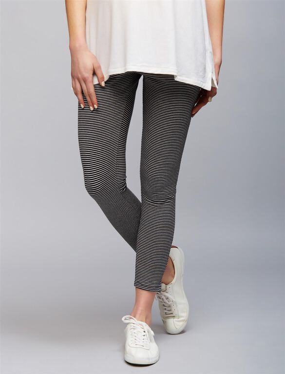Under Belly Striped Maternity Leggings, Black White Stripe