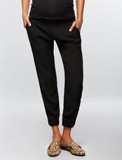 Monrow Under Belly Crepe Straight Leg Maternity Pants, Black