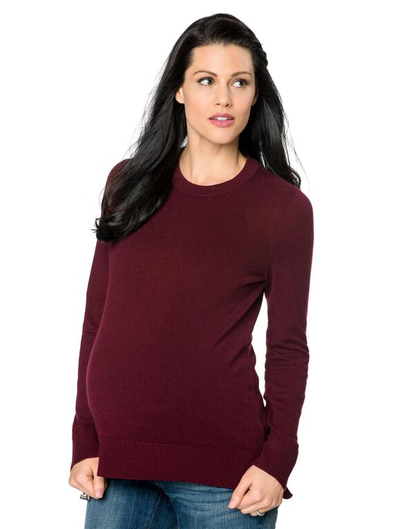 Vince Cashmere Maternity Sweater, Burgundy