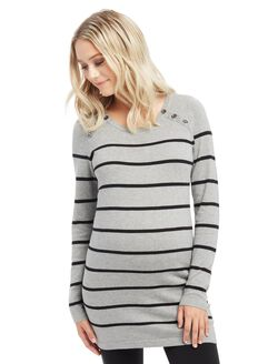 Button Detail Maternity Sweater, Grey/Black Stripe