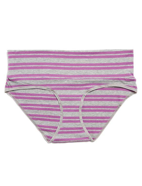 Fold Over Maternity Panty (single)- Heather Blue, Purple & Grey Stripe
