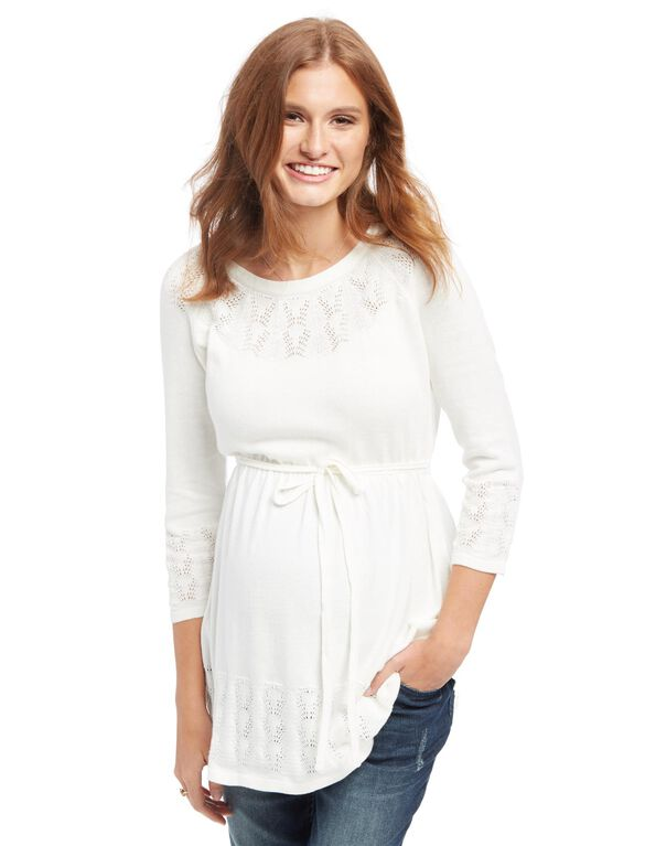Babydoll Pointelle Knit Maternity Sweater, Cream