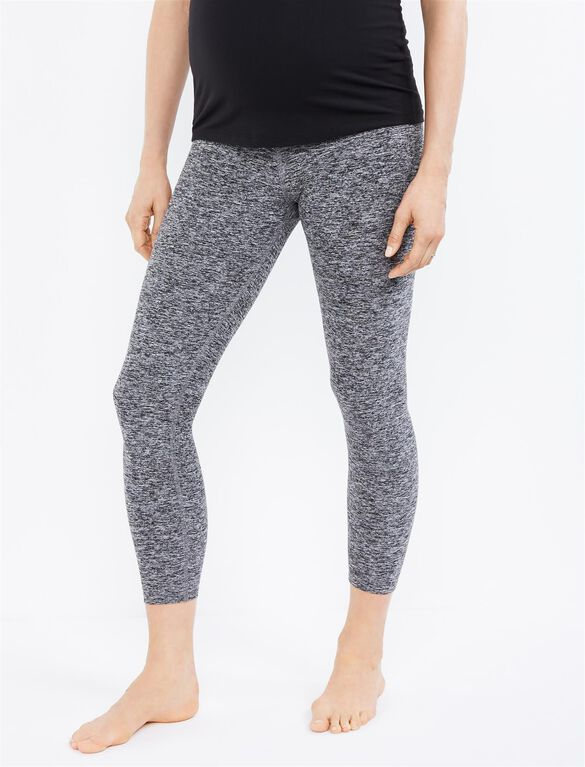 Beyond The Bump What's Kicking Foldover Maternity Legging, Black/White