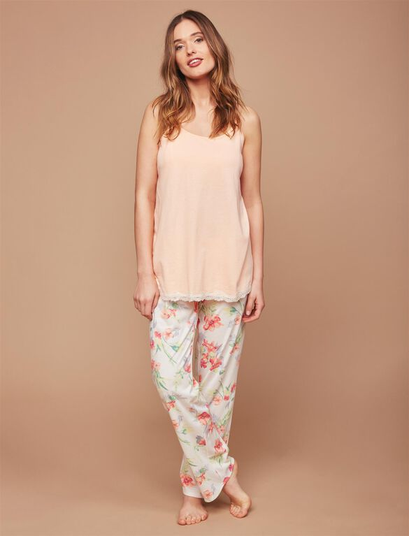 Lace Trim 3 Piece Maternity Pajama Set, Tropical Print