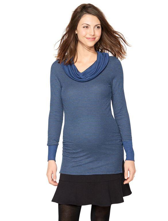 Maternity Top, Heather Grey/Indigo