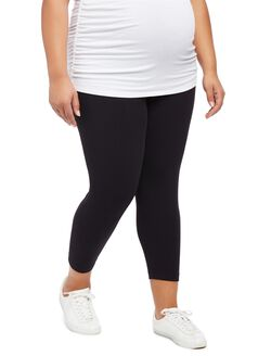 Plus Size Secret Fit Belly Maternity Crop Leggings, Black