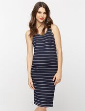 Racerback Maternity Dress, Nautical Stripe