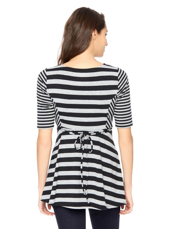 Elbow Sleeve Scoop Neck Maternity Top, Blk/Grey Stripe