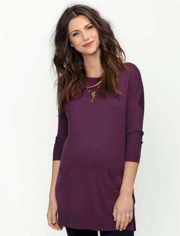 Patch Pocket Maternity Sweater, Italian Plum