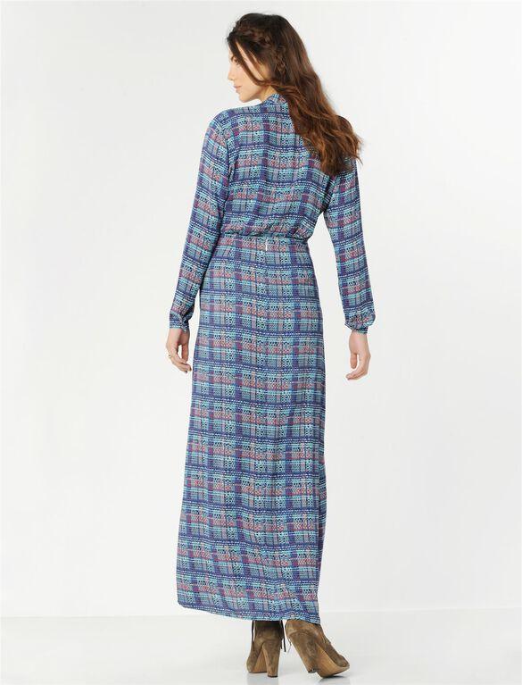 BCBGMAXAZRIA Plaid Maternity Maxi Dress, Multi Plaid