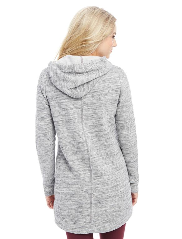 Relaxed Fit Maternity Hoodie- Heathered, Grey