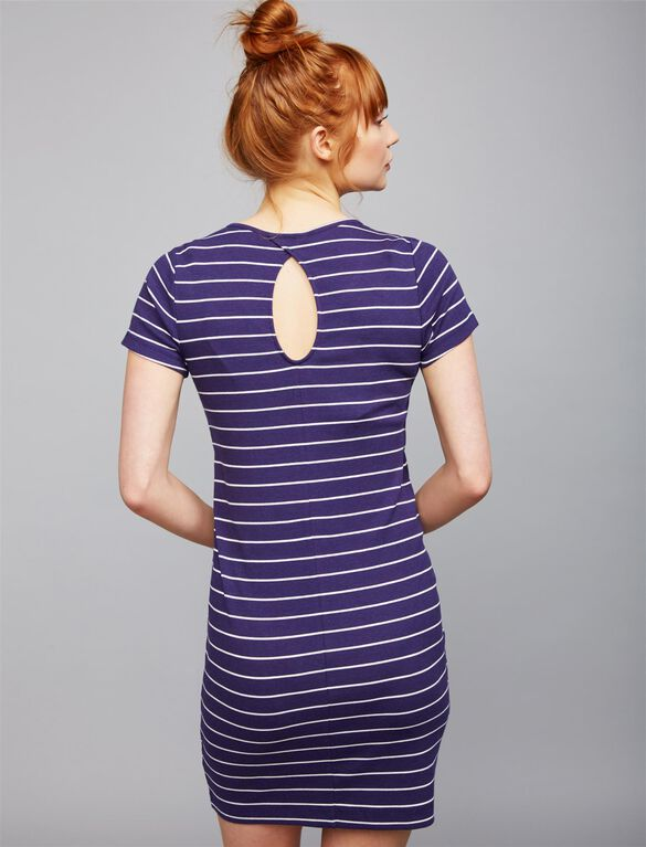 Back Interest Maternity Dress, Navy/White Stripe