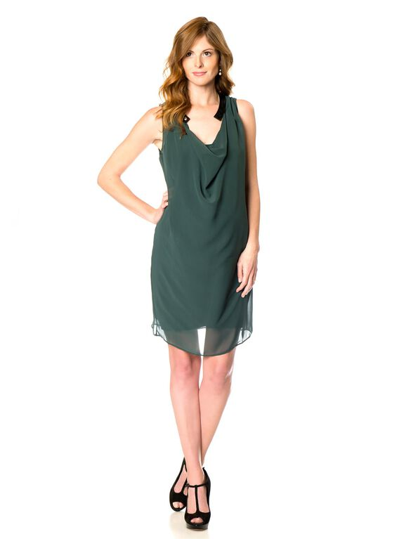 Faux Leather Trim Maternity Dress, Pine
