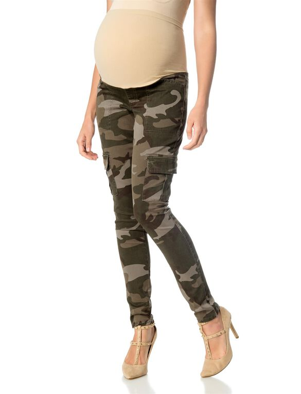Secret Fit Belly Twill Skinny Leg Maternity Pants, Camo Print