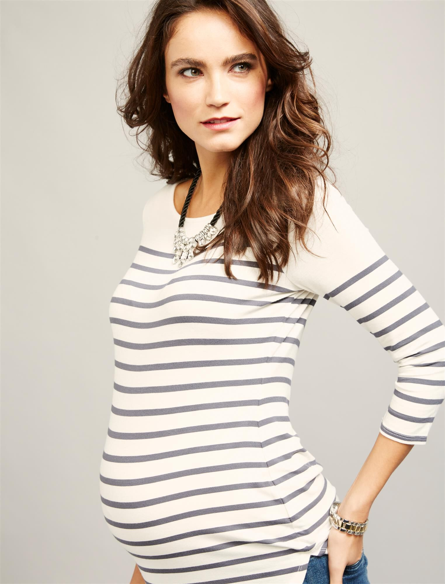 Striped Back Zip Maternity Shirt
