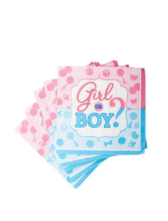 Girl Or Boy Gender Reveal Small Napkins, Pink/Blue