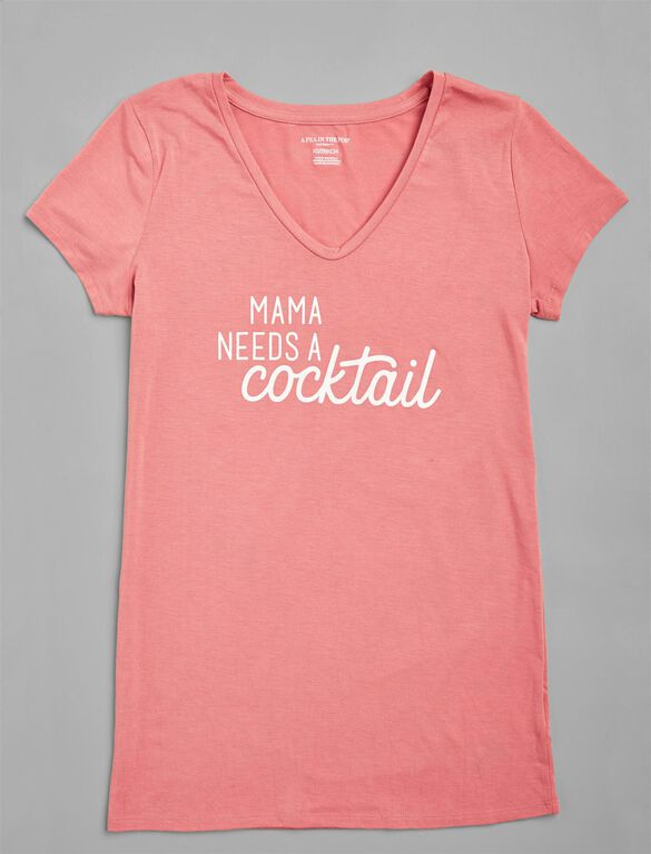Mama Needs A Cocktail Maternity Tee, Mauvewood