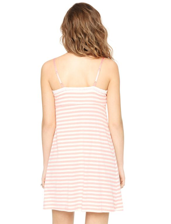 Bump In The Night Nursing Nightgown And Robe- Stripe, Pink