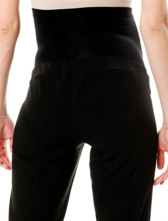 Petite Secret Fit Belly Bi-stretch Suiting Straight Leg Maternity Pants, Black