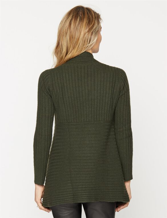 Autumn Cashmere Rib Knit Maternity Cardigan, Jungle