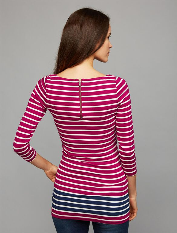 Contrast Stripe Maternity Top, Fuschia/White/Navy Stripe