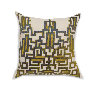 REMIX HAND EMBROIDERED PILLOW, , hi-res