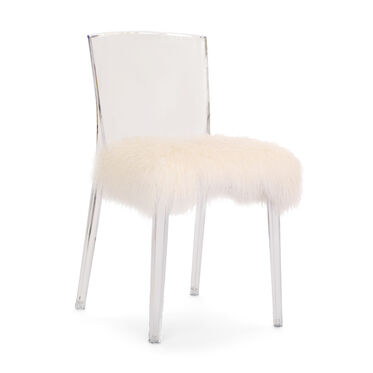 ALAIN CLEAR SIDE CHAIR WITH TIBETAN FUR, , hi-res