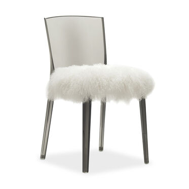 ALAIN SMOKE SIDE CHAIR WITH TIBETAN FUR, , hi-res