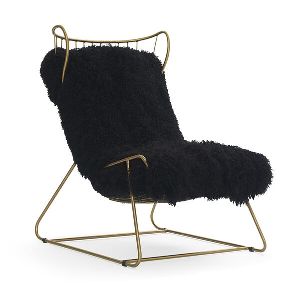 ENZO CHAIR - BLACK WITH BRASS, , hi-res