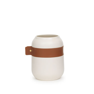 LEATHER WRAPPED WHITE SHORT VASE, , hi-res