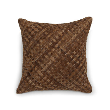 WOVEN HIDE DECORATIVE PILLOW, , hi-res