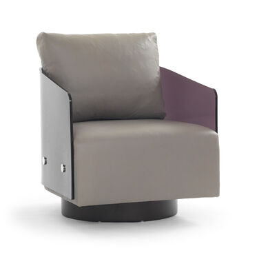 LUCY LEATHER RETURN SWIVEL CHAIR, VANCE - DRIFTWOOD, hi-res
