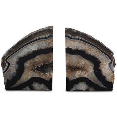 AGATE BLACK AND WHITE MEDIUM BOOKENDS, , hi-res