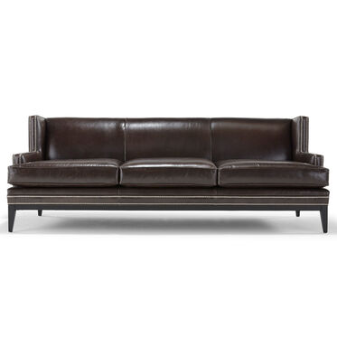 Reclining two seat sofa leather angled arms, rounded