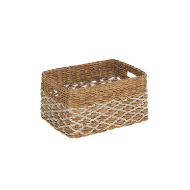 LARGE RECTANGULAR WOVEN BASKET, , hi-res