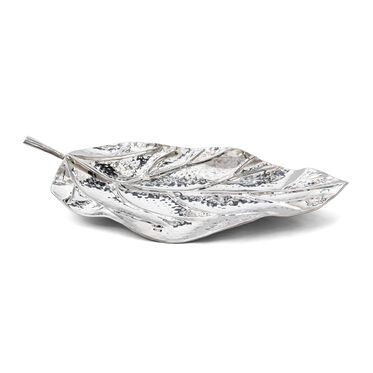 LEAF POLISHED STAINLESS STEEL TRAY, , hi-res
