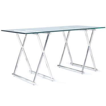 XAVIER DESK - POLISHED STAINLESS STEEL, , hi-res