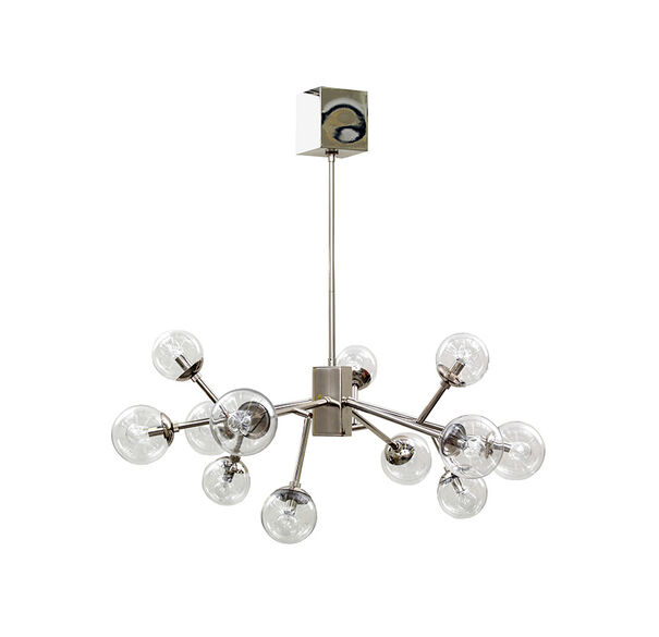 SAVOY CHANDELIER - POLISHED NICKEL WITH CLEAR GLASS, , hi-res