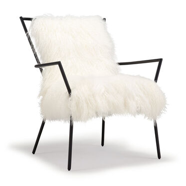 ANSEL WHITE TIBETAN FUR CHAIR, , hi-res