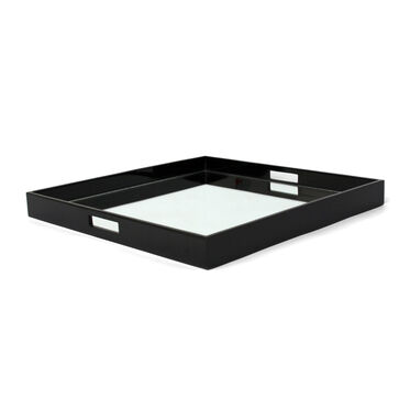 BLACK SQUARE TRAY WITH MIRROR - LARGE, , hi-res