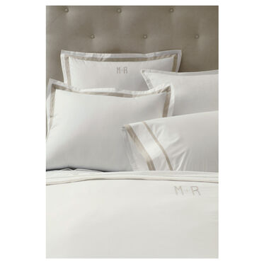 FELICITY MONOGRAM DUVET COVER - LINEN AND IVORY, , hi-res