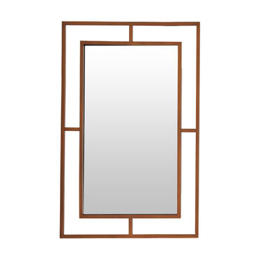 LARGE MING MIRROR - BRASS, , hi-res