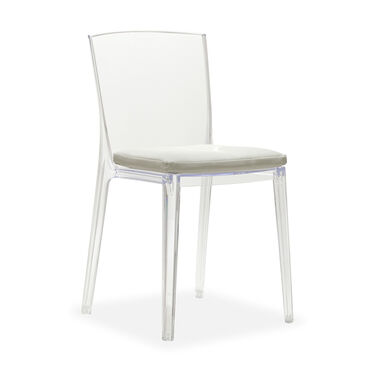 ALAIN CLEAR SIDE CHAIR, KOKO - STONE, hi-res