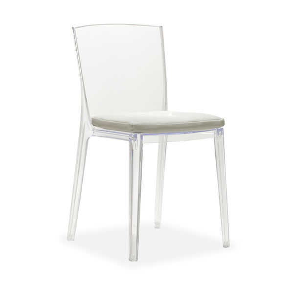 ALAIN CLEAR SIDE CHAIR WITH CUSHION, , hi-res