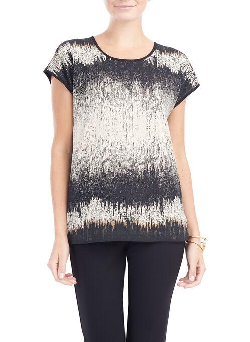Drop Shoulder Abstract Print Top, Black, hi-res