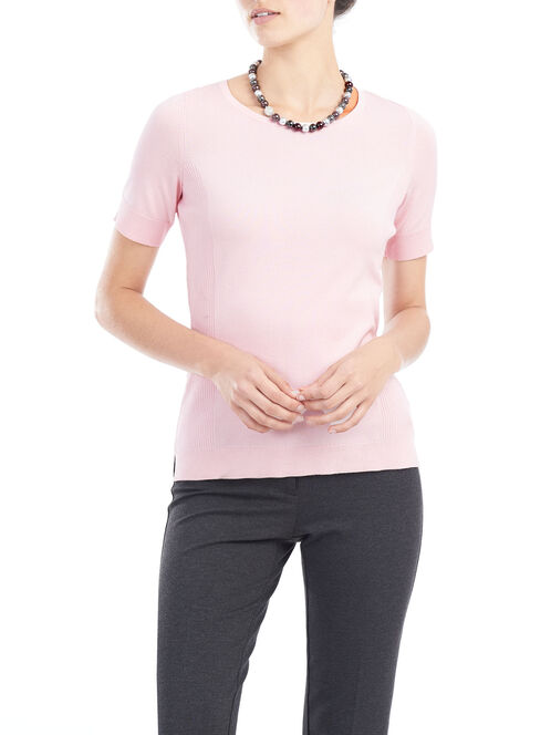 Knit Crew Neck Pullover, Pink, hi-res