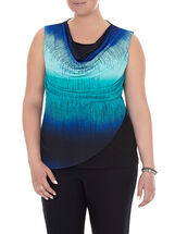 Sleeveless Printed Drape Neck Top, Blue, hi-res